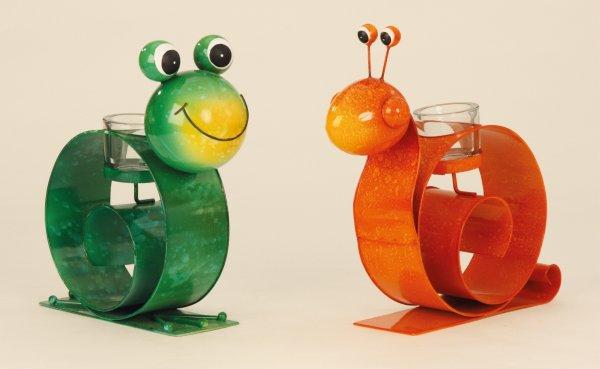 Metall Frosch &<br> Schnecke mit<br>Punkten Garten Deko