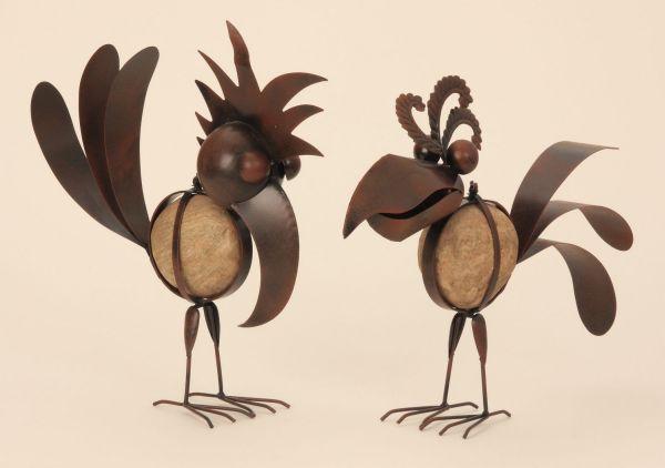 Metall Vögel mit<br> Stein rostfarben<br>Garten Deko