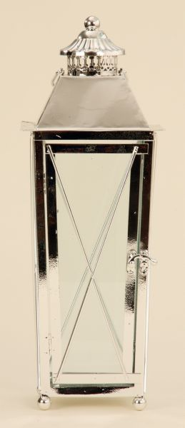 Metal lantern<br> chrome 43cm Garden<br>Decoration