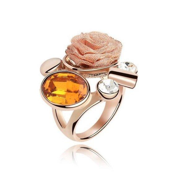 anneau plaqué en<br> or rose 18 carats<br>avec cri