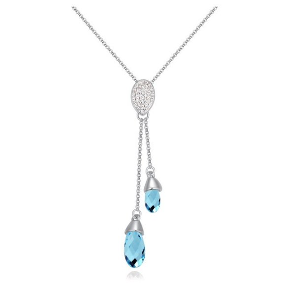 Rhodium plated<br> pendant mounted<br>with Swarovski crys