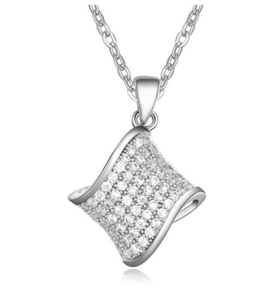 Rhodium plated<br> pendant with<br> Zirconia mounted ...