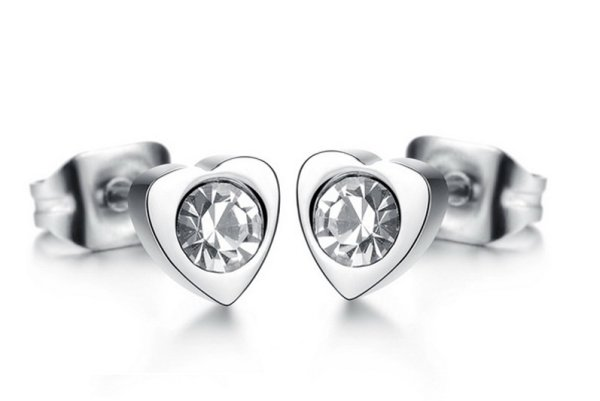 white gold plated<br>earrings 18K mo