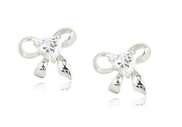 Rhodium plated<br> earrings with<br>crystals Swar