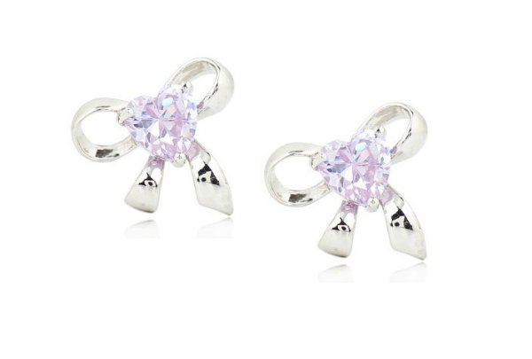 rhodium plated<br> earrings with<br>Swarovski crystals