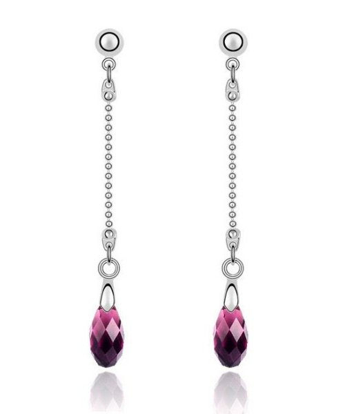 Rhodium plated<br> earring, mounted<br>with crystals S