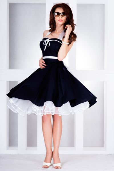 Rockabilly pin up<br> dress navy blue -<br>30-6