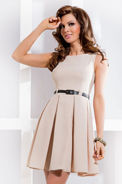 DRESS pleat - beige 6-1