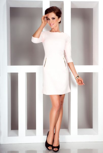 Dress with zips -<br>quilted - peach