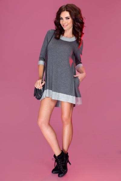 Loose dress with a<br> long back - loop<br>graphite