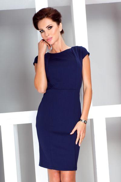Elegant dress with<br>short sleeves - Navy
