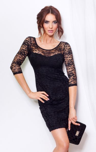 Lace dress tied at<br> the back - Black<br>14-2