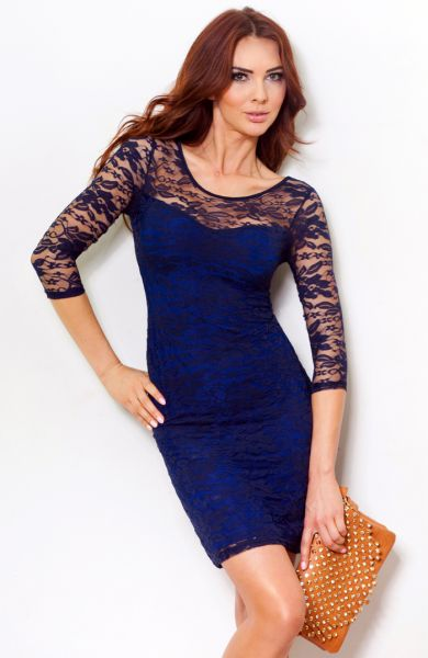Lace dress tied at<br>the back - Navy 14-1