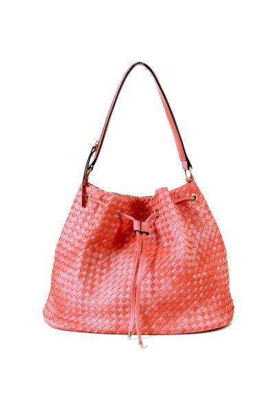 Bucket bag worn<br> braided<br> shoulder-Corail ...