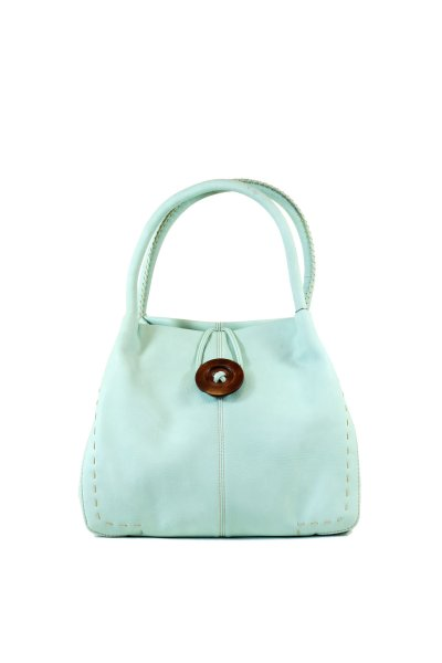 Green leather<br> effect hand bucket<br>bag
